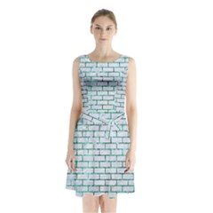 Brick1 White Marble & Green Marble (r) Sleeveless Waist Tie Chiffon Dress