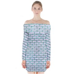Brick1 White Marble & Green Marble (r) Long Sleeve Off Shoulder Dress