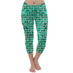 Brick1 White Marble & Green Marble Capri Winter Leggings