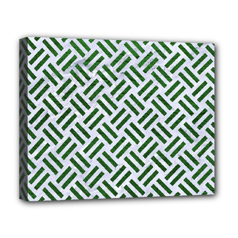 Woven2 White Marble & Green Leather (r) Deluxe Canvas 20  X 16