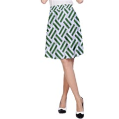 Woven2 White Marble & Green Leather (r) A Line Skirt