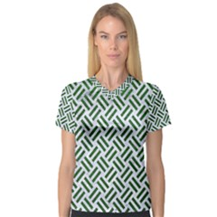 Woven2 White Marble & Green Leather (r) V Neck Sport Mesh Tee