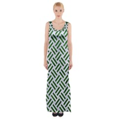 Woven2 White Marble & Green Leather (r) Maxi Thigh Split Dress