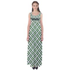 Woven2 White Marble & Green Leather (r) Empire Waist Maxi Dress