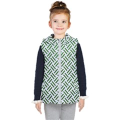 Woven2 White Marble & Green Leather (r) Kid s Hooded Puffer Vest