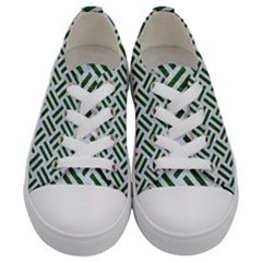 Woven2 White Marble & Green Leather (r) Kids  Low Top Canvas Sneakers