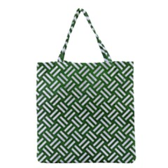 Woven2 White Marble & Green Leather Grocery Tote Bag