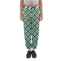 Woven2 White Marble & Green Leather Women s Jogger Sweatpants