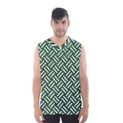 Woven2 White Marble & Green Leather Men s Basketball Tank Top