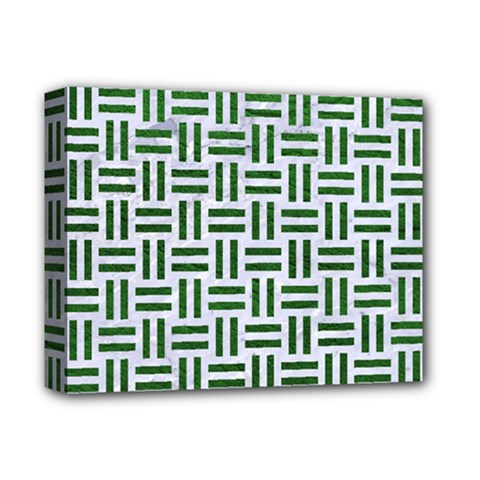 Woven1 White Marble & Green Leather (r) Deluxe Canvas 14  X 11
