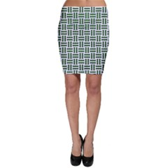 Woven1 White Marble & Green Leather (r) Bodycon Skirt