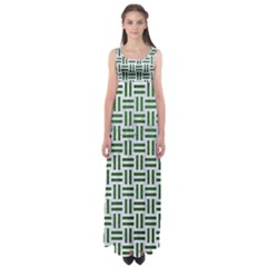 Woven1 White Marble & Green Leather (r) Empire Waist Maxi Dress