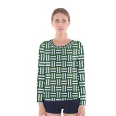 Woven1 White Marble & Green Leather Women s Long Sleeve Tee