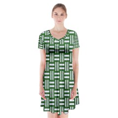 Woven1 White Marble & Green Leather Short Sleeve V Neck Flare Dress