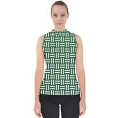 Woven1 White Marble & Green Leather Shell Top