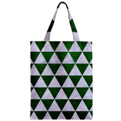 Triangle3 White Marble & Green Leather Zipper Classic Tote Bag