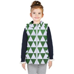 Triangle3 White Marble & Green Leather Kid s Hooded Puffer Vest