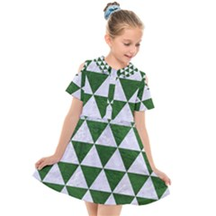 Triangle3 White Marble & Green Leather Kids  Short Sleeve Shirt Dress