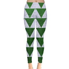 Triangle2 White Marble & Green Leather Leggings