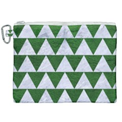 Triangle2 White Marble & Green Leather Canvas Cosmetic Bag (xxl)