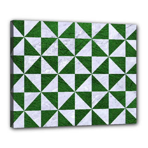 Triangle1 White Marble & Green Leather Canvas 20  X 16