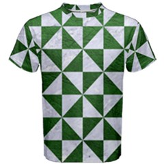 Triangle1 White Marble & Green Leather Men s Cotton Tee