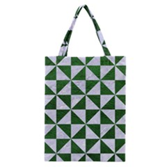 Triangle1 White Marble & Green Leather Classic Tote Bag