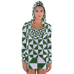 Triangle1 White Marble & Green Leather Long Sleeve Hooded T Shirt