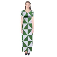 Triangle1 White Marble & Green Leather Short Sleeve Maxi Dress