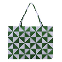 Triangle1 White Marble & Green Leather Medium Tote Bag
