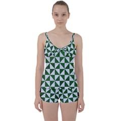 Triangle1 White Marble & Green Leather Tie Front Two Piece Tankini