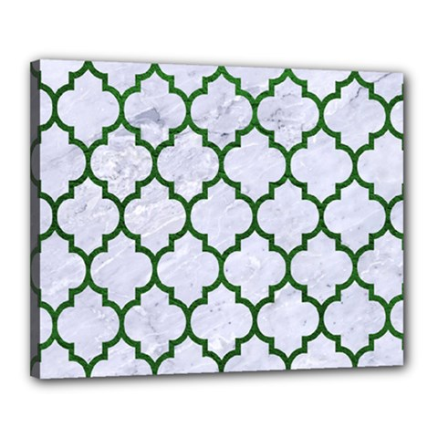 Tile1 (r) White Marble & Green Leather Canvas 20  X 16