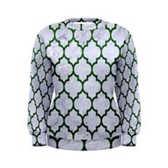 Tile1 (r) White Marble & Green Leather Women s Sweatshirt