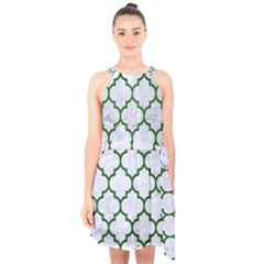 Tile1 (r) White Marble & Green Leather Halter Collar Waist Tie Chiffon Dress