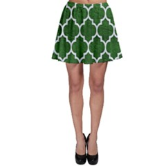 Tile1 White Marble & Green Leather Skater Skirt