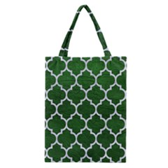 Tile1 White Marble & Green Leather Classic Tote Bag