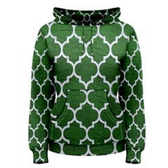 Tile1 White Marble & Green Leather Women s Pullover Hoodie