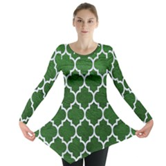 Tile1 White Marble & Green Leather Long Sleeve Tunic