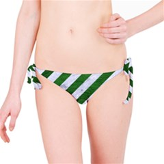 Stripes3 White Marble & Green Leather (r) Bikini Bottom