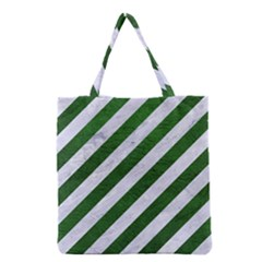 Stripes3 White Marble & Green Leather (r) Grocery Tote Bag