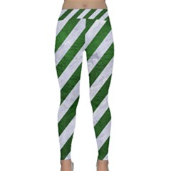Stripes3 White Marble & Green Leather (r) Classic Yoga Leggings