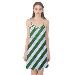 Stripes3 White Marble & Green Leather (r) Camis Nightgown
