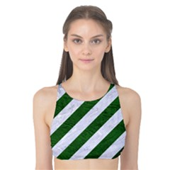 Stripes3 White Marble & Green Leather (r) Tank Bikini Top