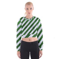 Stripes3 White Marble & Green Leather (r) Cropped Sweatshirt
