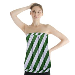 Stripes3 White Marble & Green Leather (r) Strapless Top