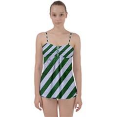 Stripes3 White Marble & Green Leather (r) Babydoll Tankini Set