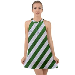 Stripes3 White Marble & Green Leather (r) Halter Tie Back Chiffon Dress