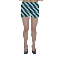 Stripes3 White Marble & Green Leather Skinny Shorts