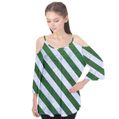 Stripes3 White Marble & Green Leather Flutter Tees
