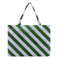 Stripes3 White Marble & Green Leather Medium Tote Bag